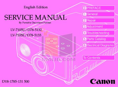pdf for Canon Projector LV-7105 manual