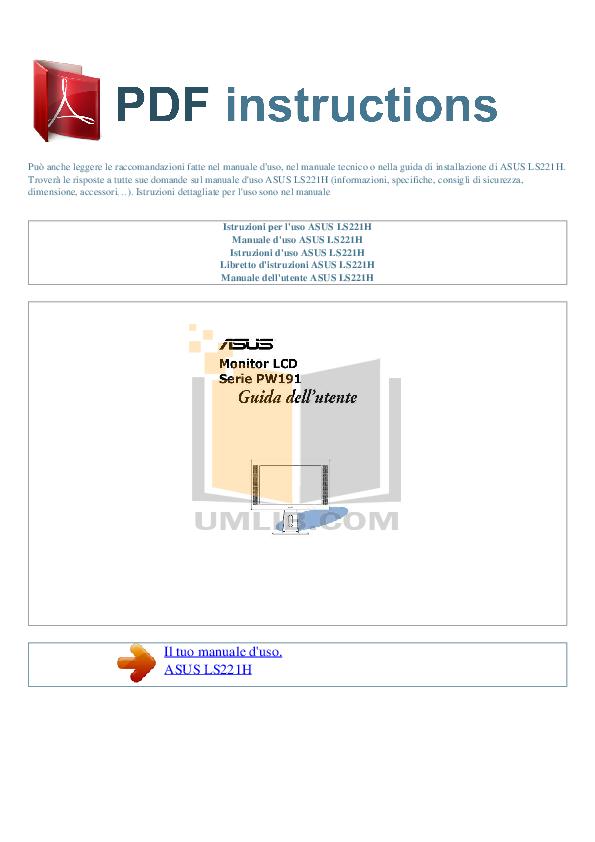 pdf for Asus Monitor LS221H manual