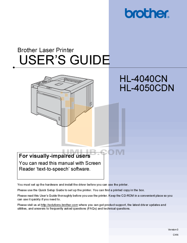 pdf for Brother Printer HL-4040CN manual