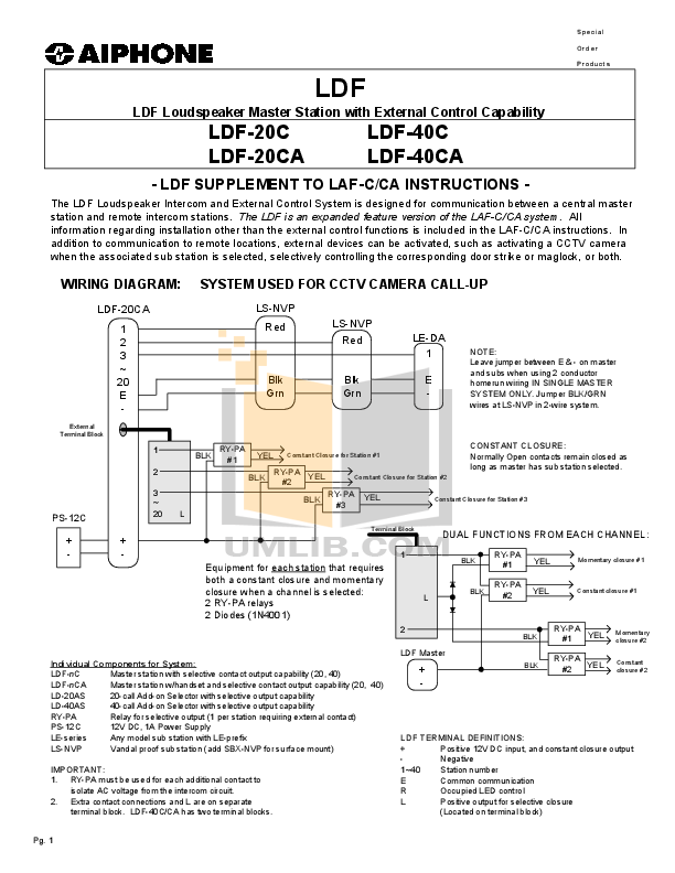 pdf for Aiphone Other LAF-3B Intercoms manual