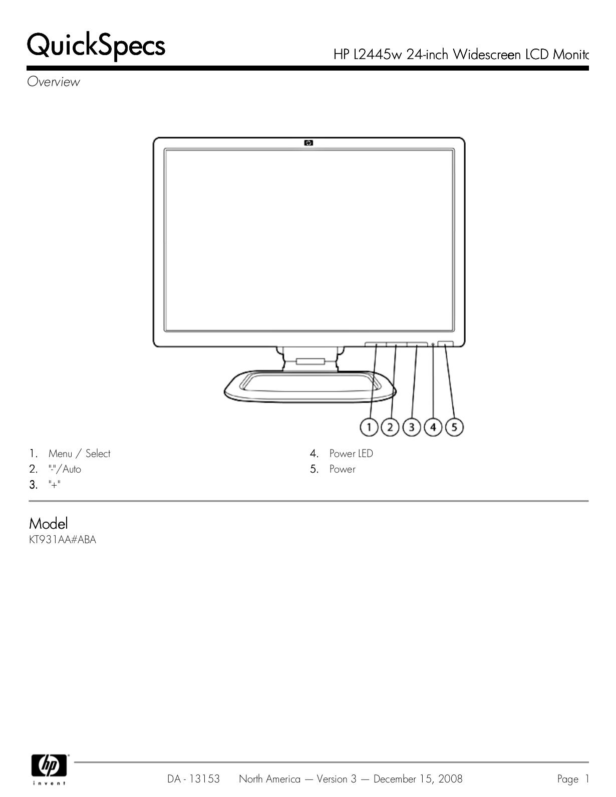 Hp l2445w 24 widescreen lcd monitor 1920x1200 wuxga, 1000:1.
