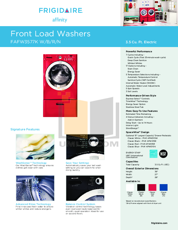 pdf for Frigidaire Washer FAFW3577K manual