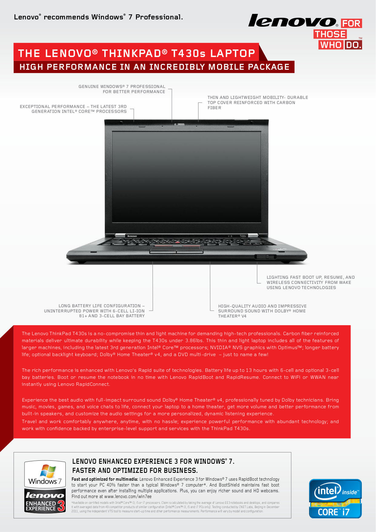 pdf for Lenovo Laptop ThinkPad T410 2518 manual