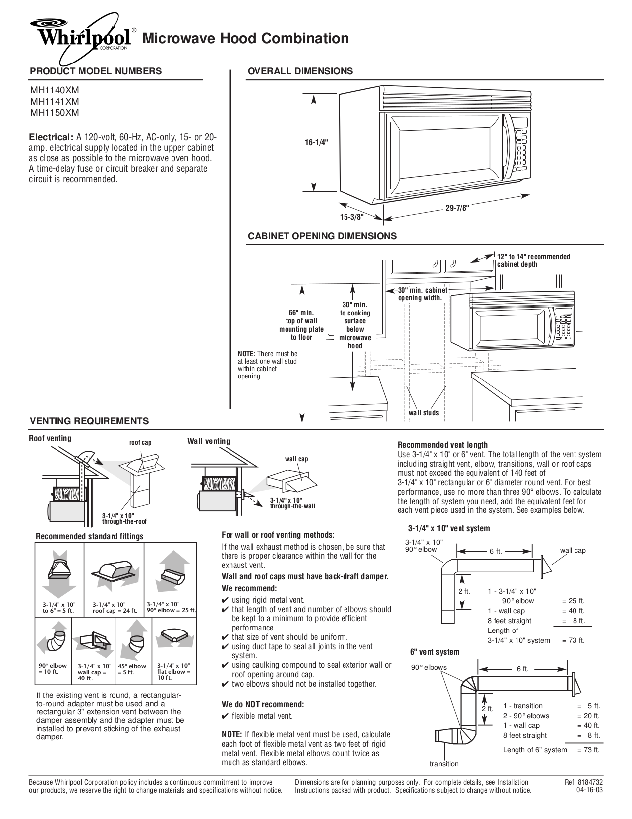 pdf for Whirlpool Microwave MH1140XM manual