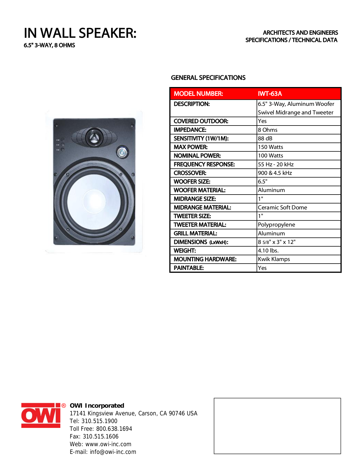 pdf for Owi Speaker IWT-63A manual