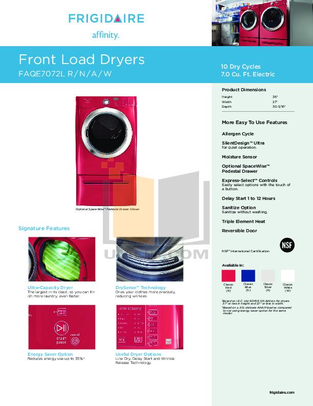 pdf for Frigidaire Dryer Affinity FAQE7072L manual