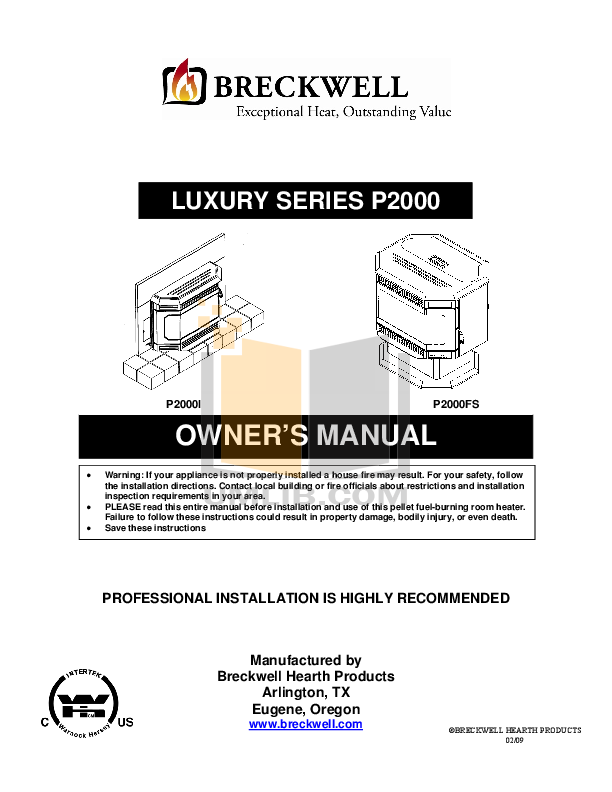 pdf for Breckwell Heating Cooling and Air Luxury P2000FS manual