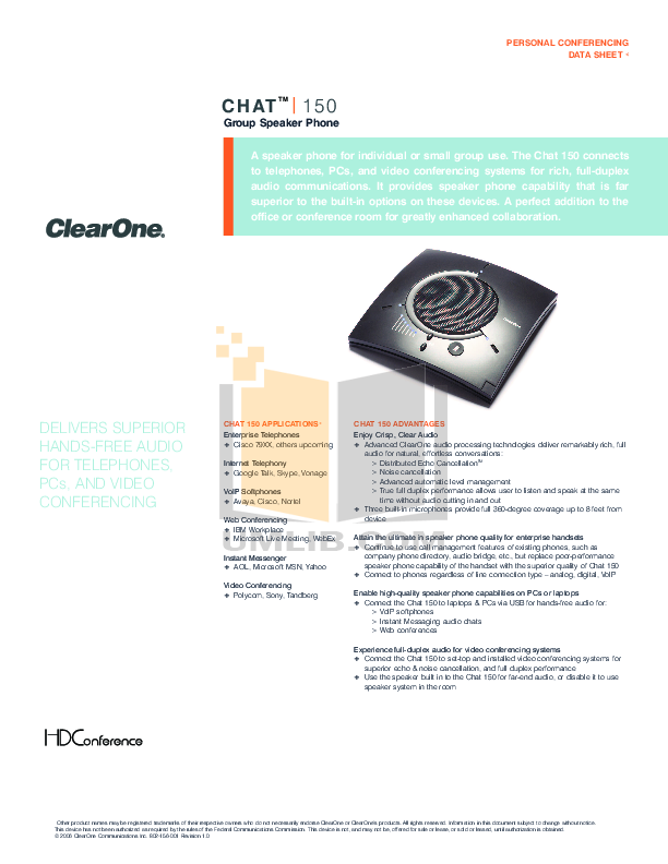 pdf for ClearOne Telephone XAP 400 manual