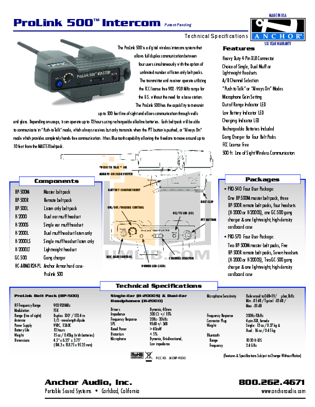Anchor Headset H-200 pdf page preview