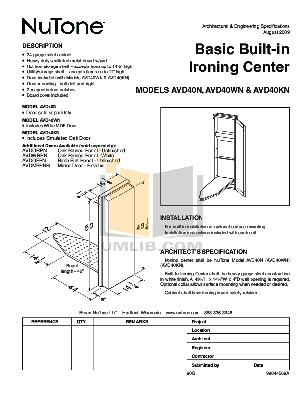 pdf for Broan-NuTone Other AVD40WN Ironing Centers manual