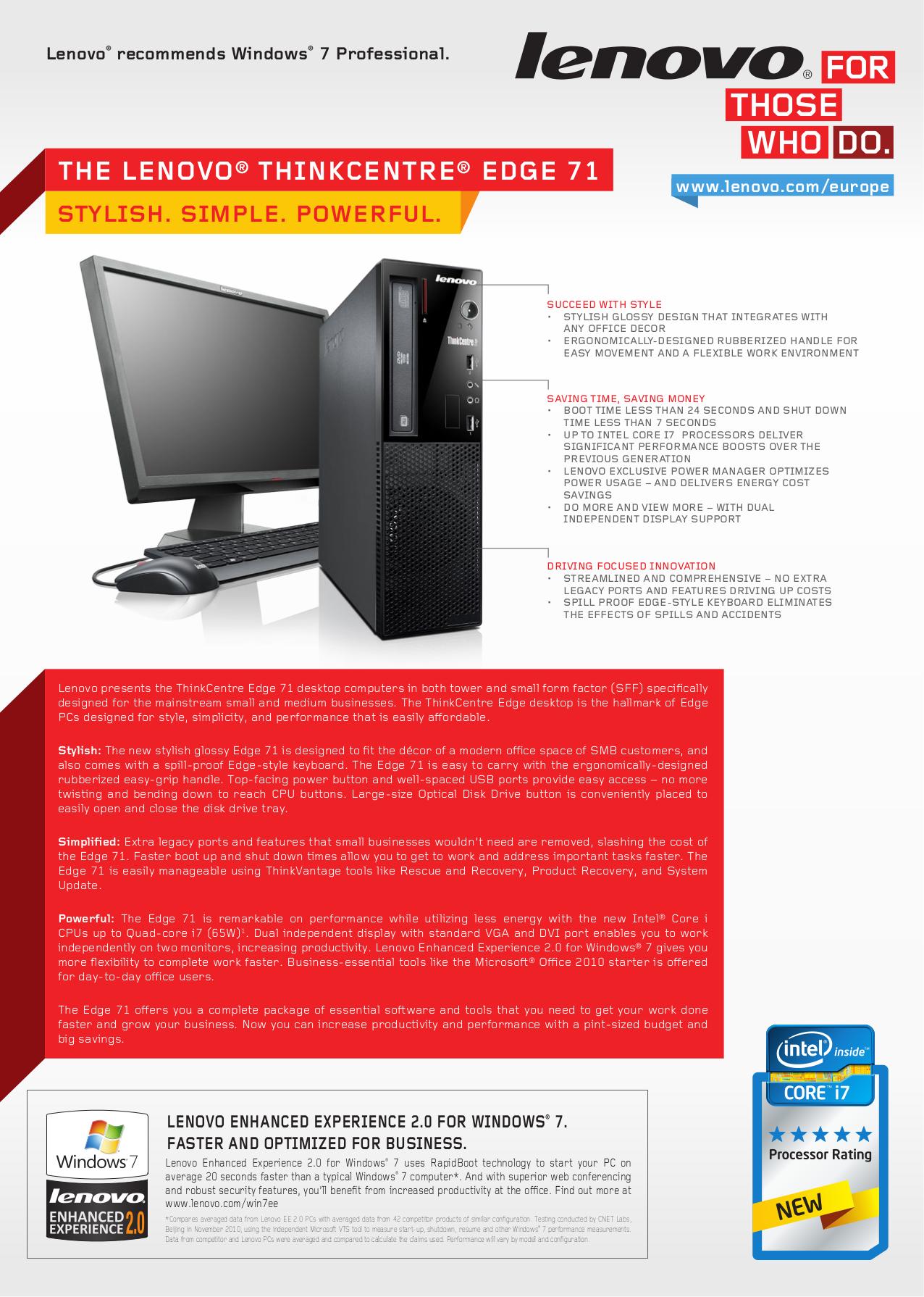 pdf for Lenovo Desktop ThinkCentre Edge 71 1577 manual