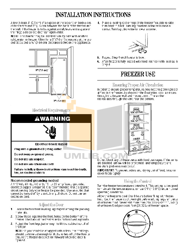 Amana Freezer AQU2003TRW pdf page preview