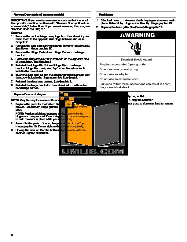 Amana Freezer AQU2003TRW pdf page preview