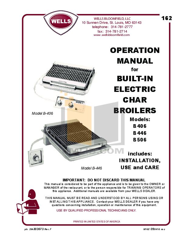 pdf for Bloomfield Grill B-50 manual