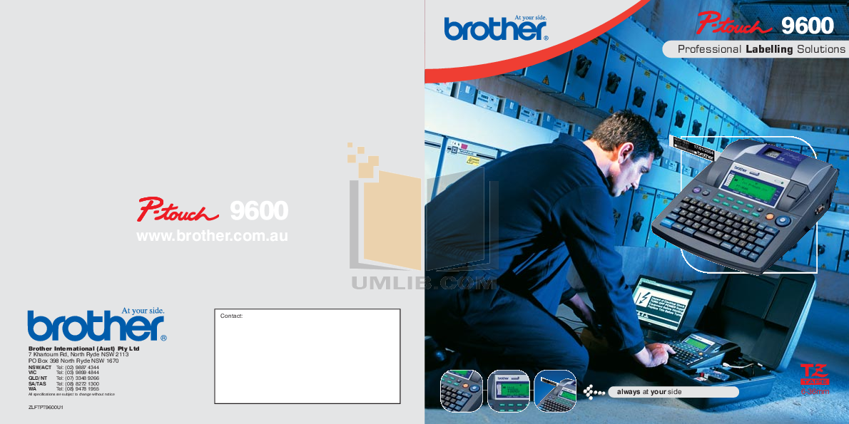 pdf for Brother Printer PT-9600 manual