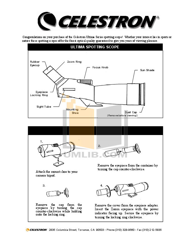 pdf for Celestron Other Ultima 52254 Spotting Scope manual