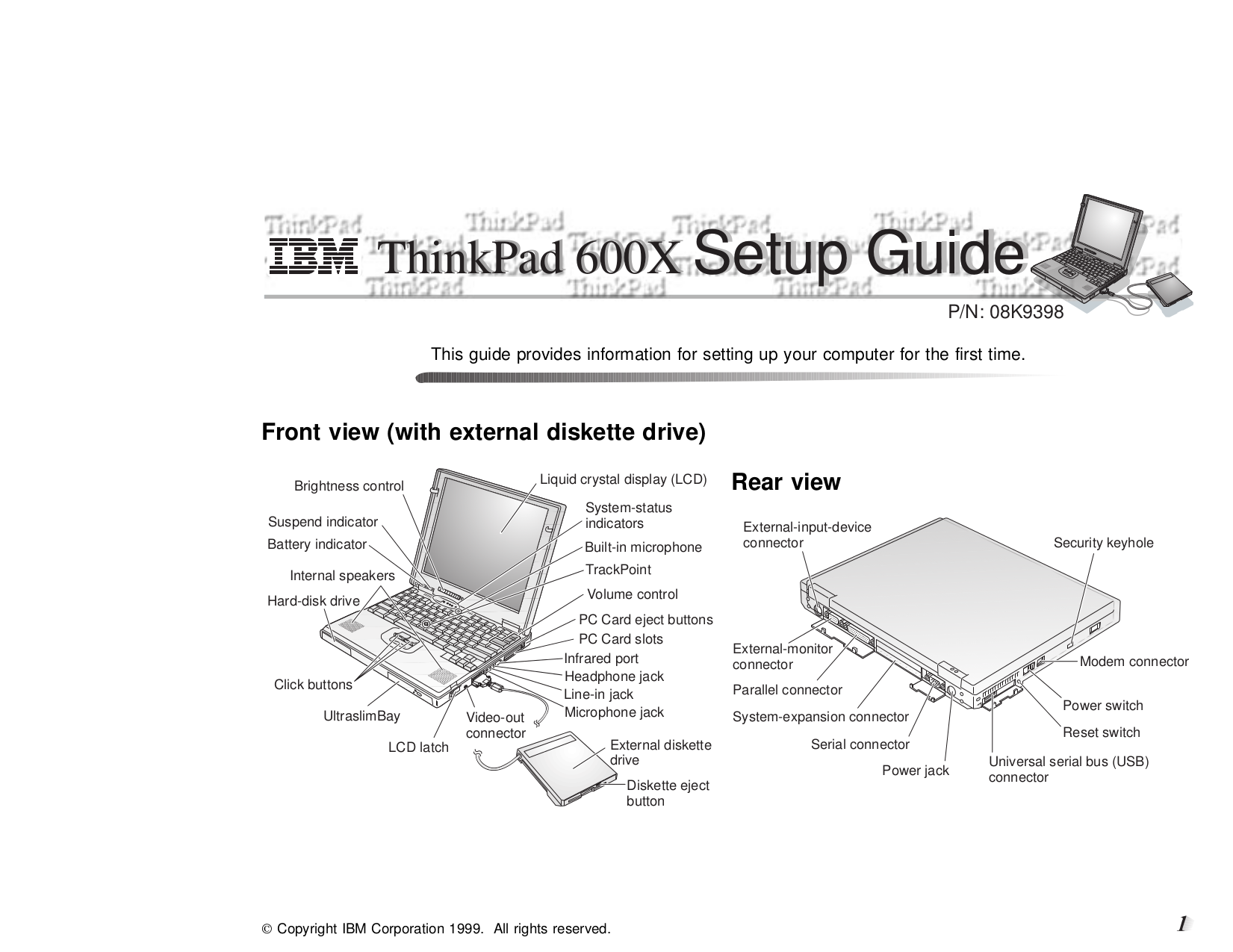 pdf for IBM Laptop ThinkPad 600X manual
