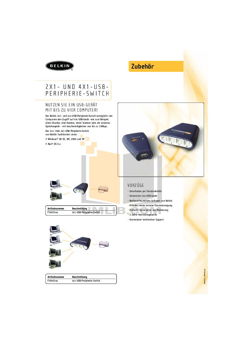 pdf for Belkin Switch F1U401 manual