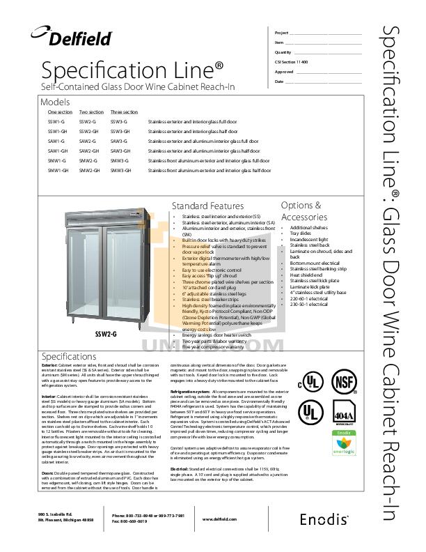 pdf for Delfield Refrigerator SSW1-S manual