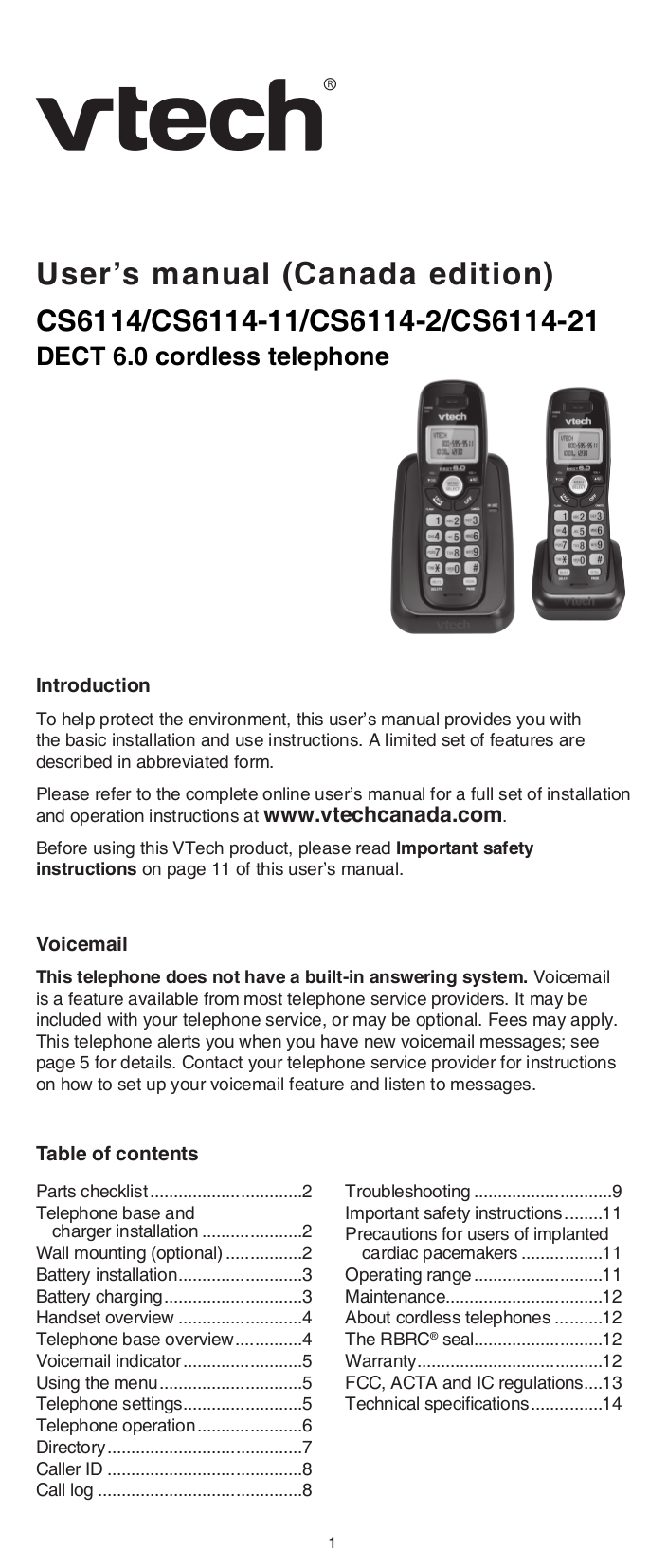Download Free Pdf For Vtech Ds6221 5 Telephone Manual