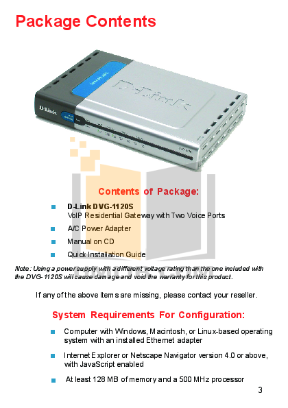 PDF manual for D-link Other DVG-1120S VoIP Gateway