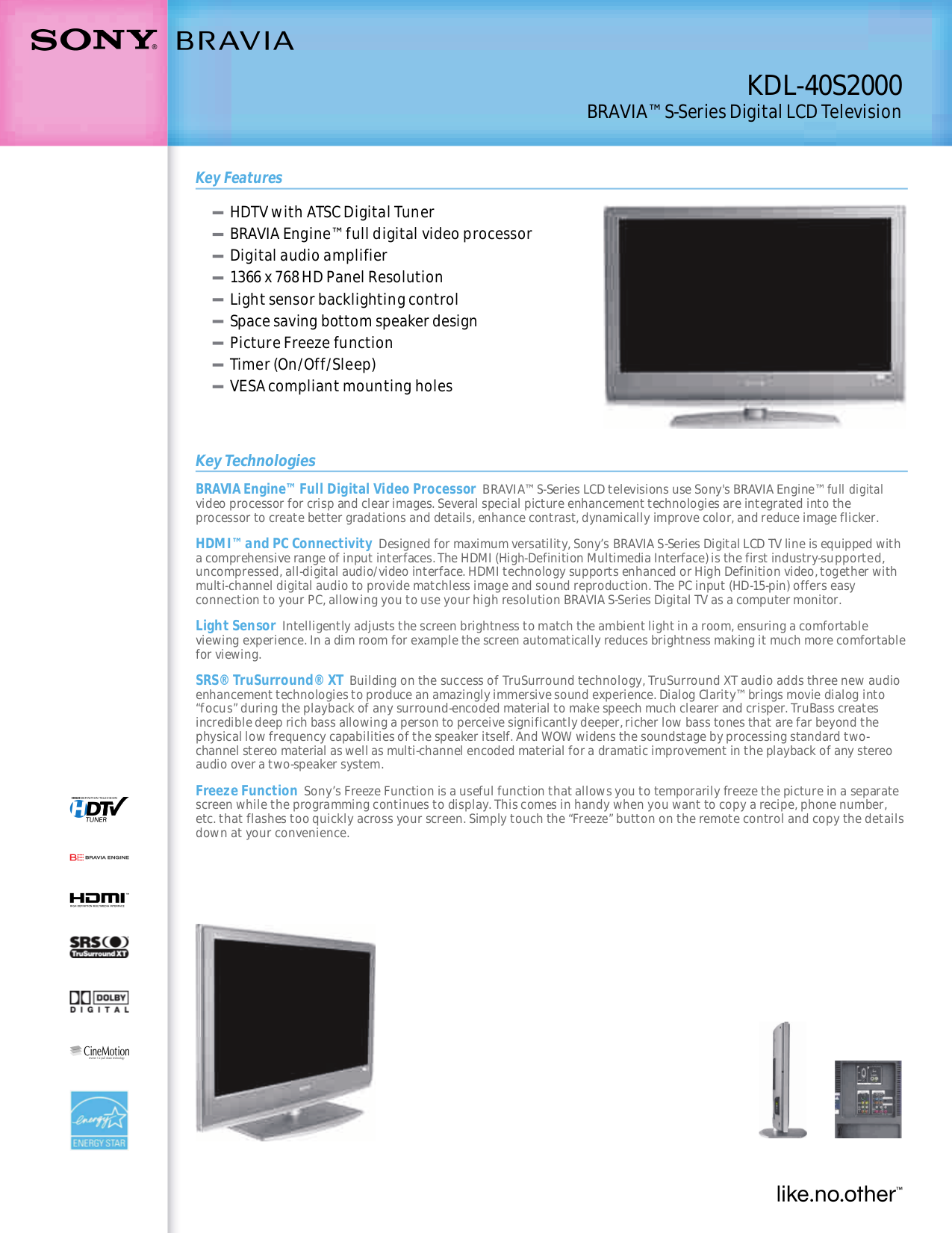 Download free pdf for Sony BRAVIA KDL-40S2000 TV manual