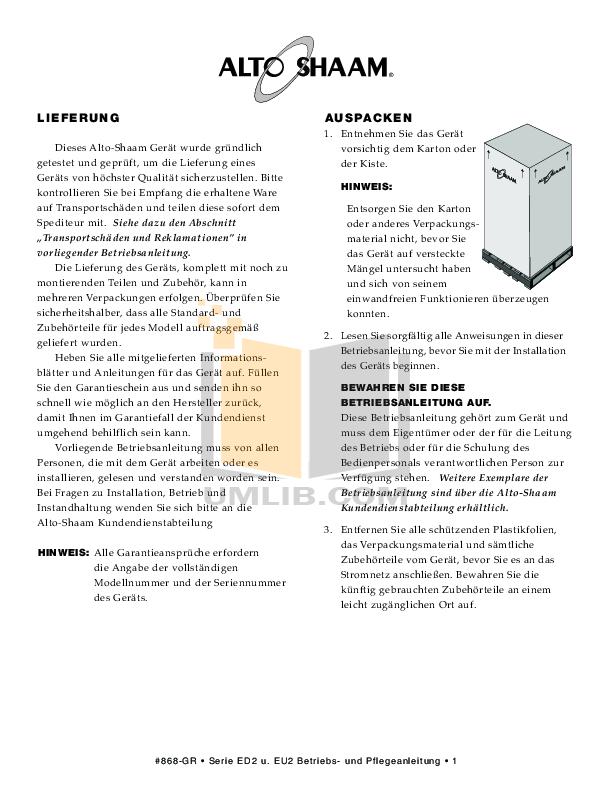 AltoShaam Other EU2SYS-48 Warmers pdf page preview
