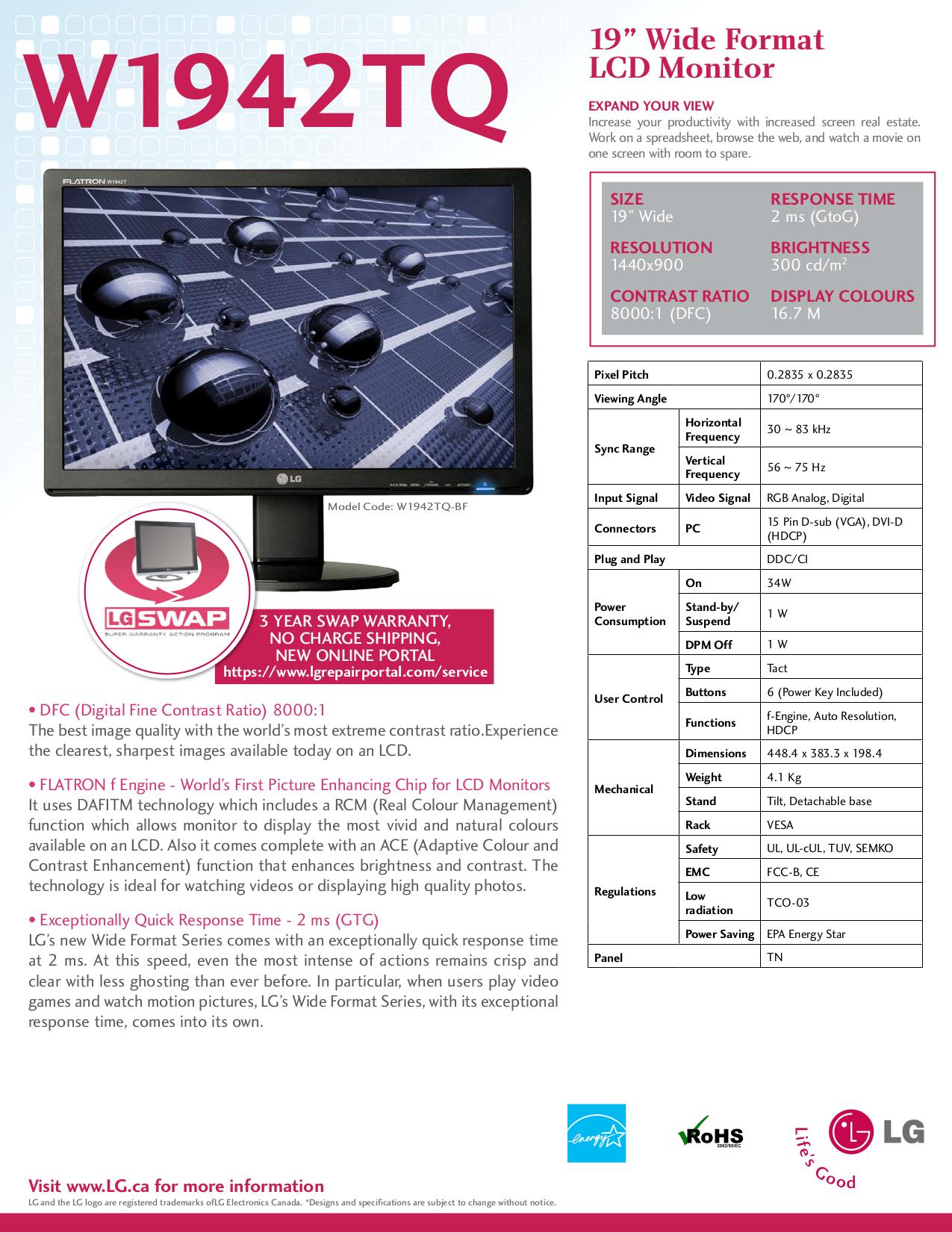 pdf for LG Monitor W1942TQ manual