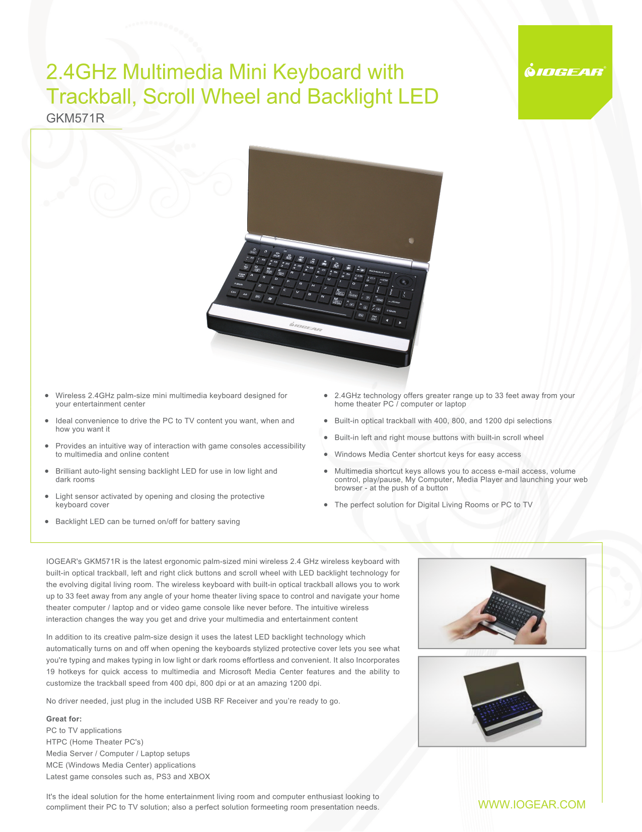 pdf for IOGEAR Keyboard GKM571R manual