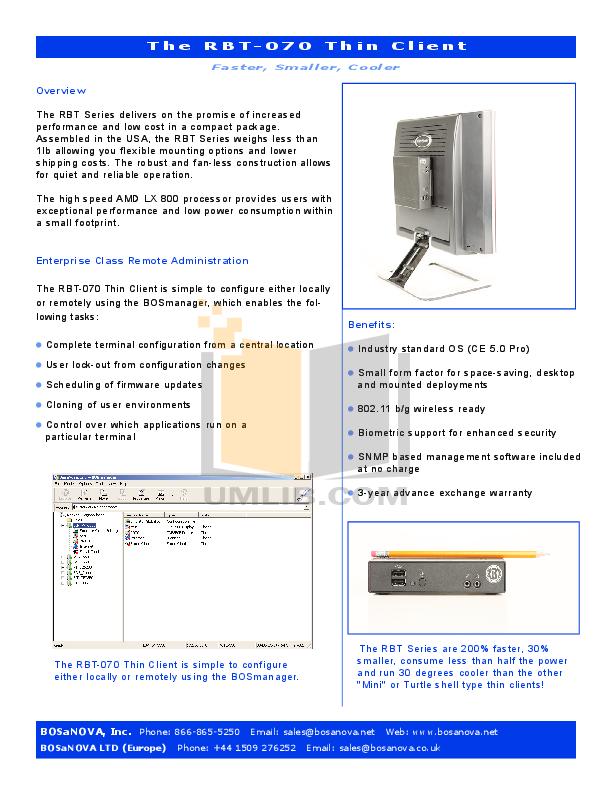 pdf for Bosanova Desktop RBT-070 manual