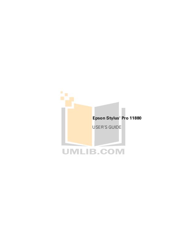 pdf for Epson Printer Stylus Pro 11880 manual