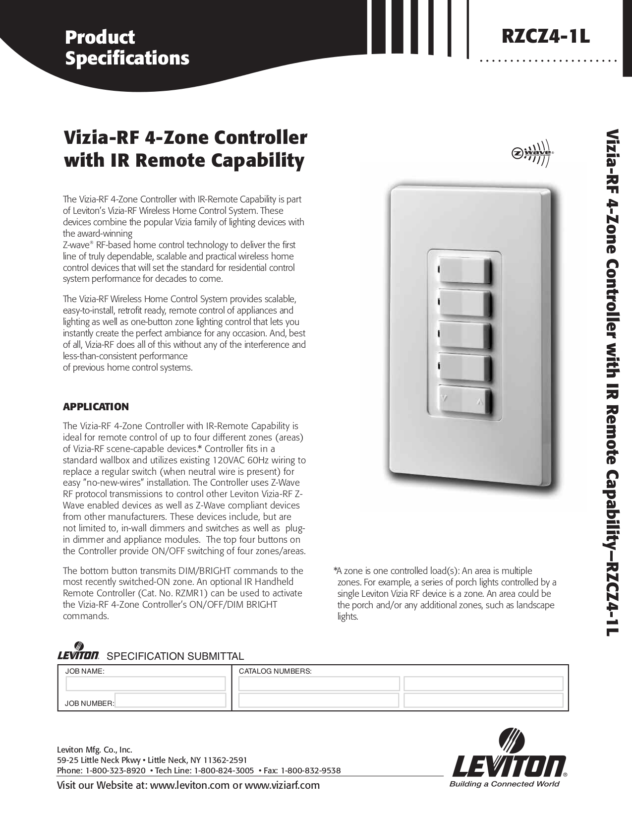 Download free pdf for Leviton RZCZ4 Zone Controller Other manual