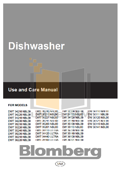 pdf for Blomberg Dishwasher DWT34220 manual