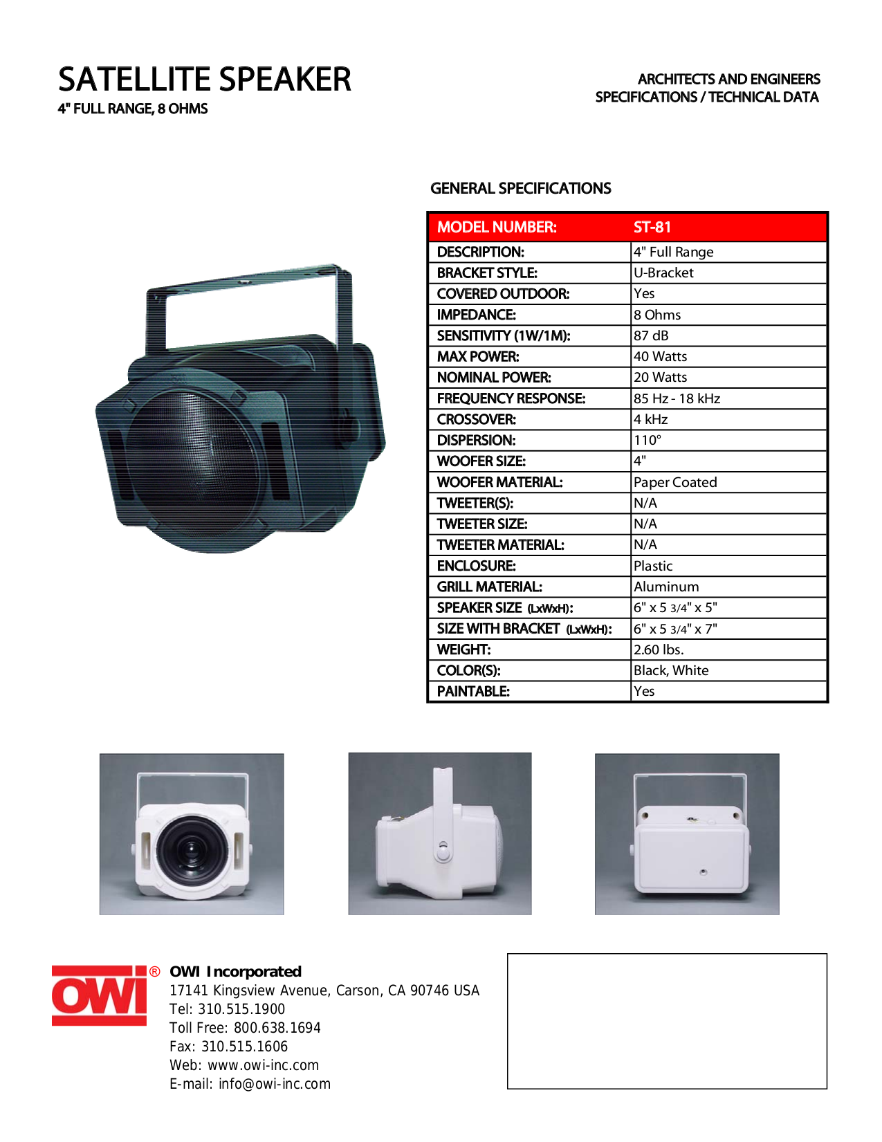 pdf for Owi Speaker ST81 manual