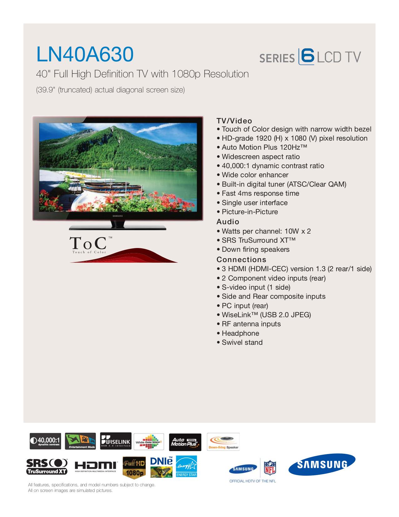 download free pdf for samsung ln40a630 tv manual rh umlib com Samsung Instruction Manual Samsung Galaxy S Manual