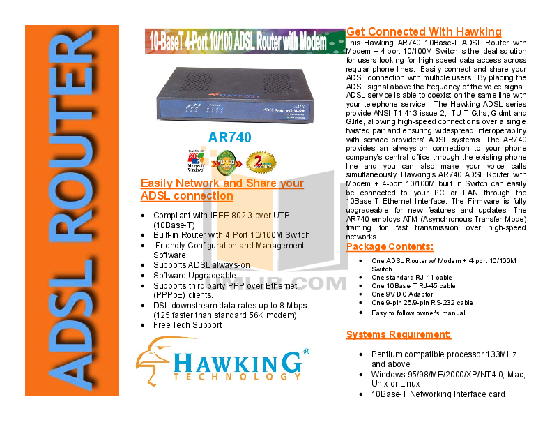 pdf for Hawking Router AR710 manual