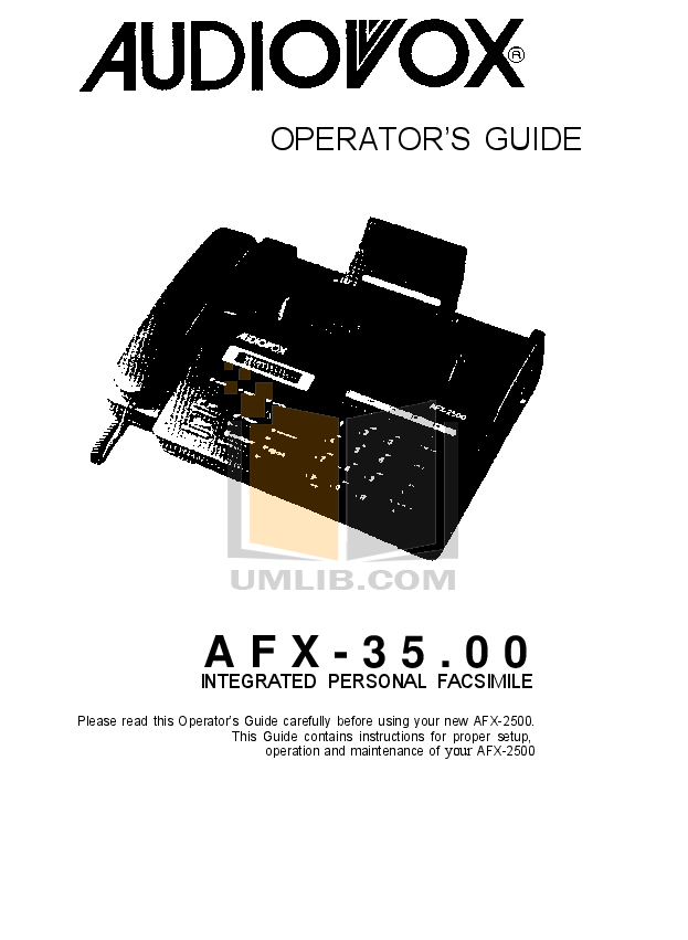 pdf for Audiovox Fax Machine AFX-35.00 manual