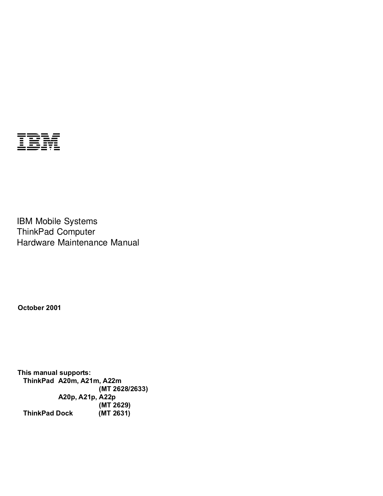 pdf for IBM Laptop ThinkPad A22m manual