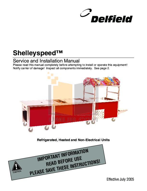 pdf for Delfield Refrigerator Shelleyspeed SPRD36P-50NE manual