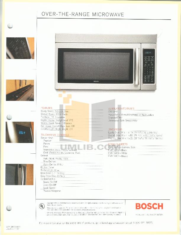 pdf for Bosch Microwave HMV9307 manual