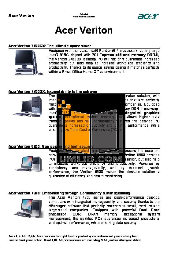 pdf for Acer Desktop AcerPower M6 manual