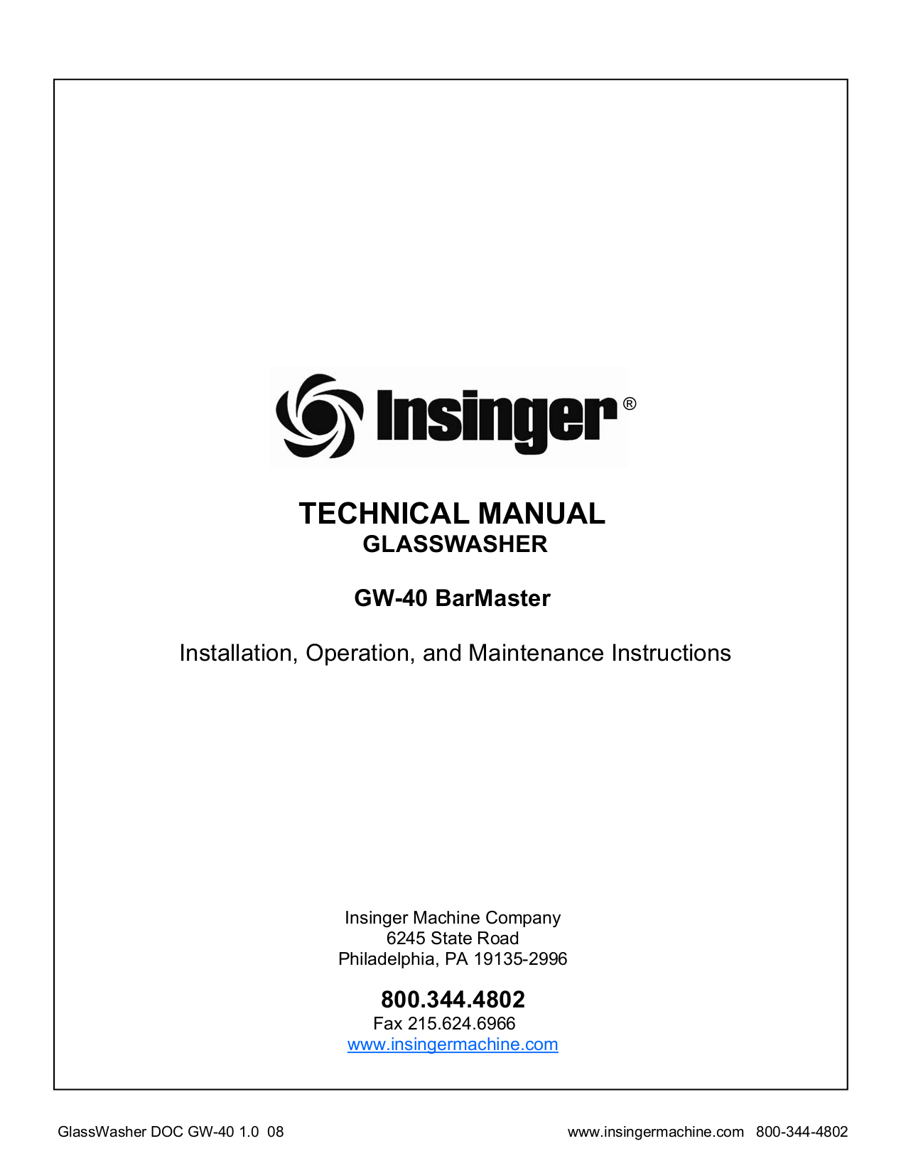 pdf for Insinger Other GW-40 Glasswashers manual