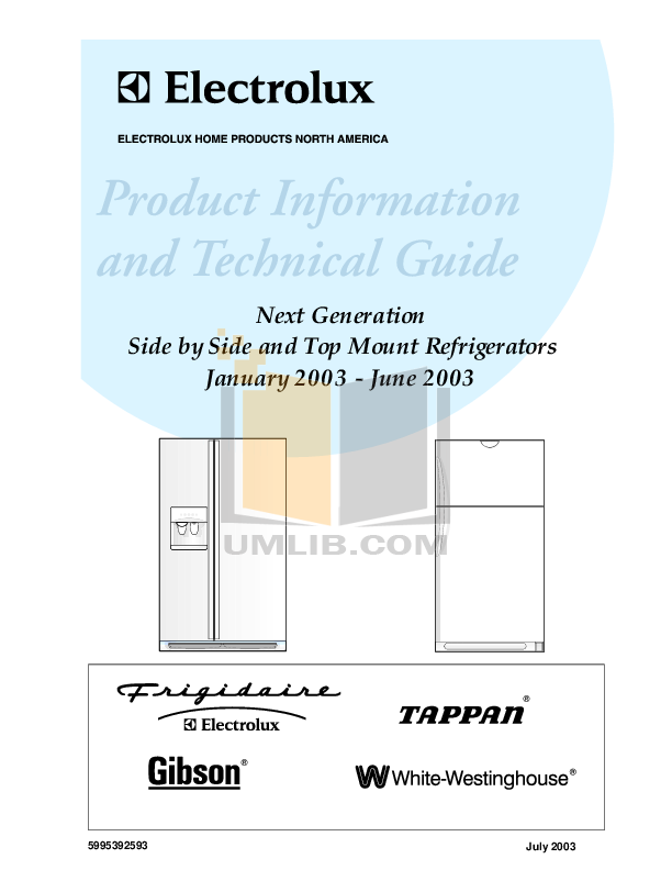 pdf for Frigidaire Refrigerator FRS26W2BSB3 manual