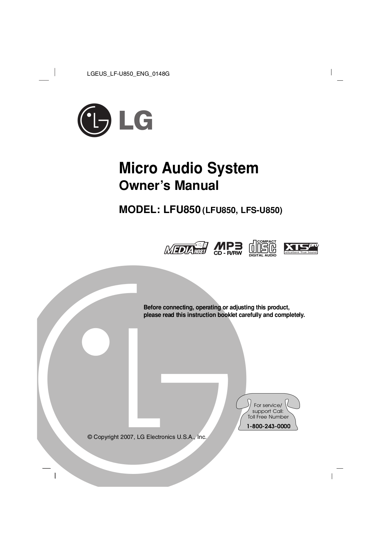 pdf for LG Other LFU850 Stereo Systems manual