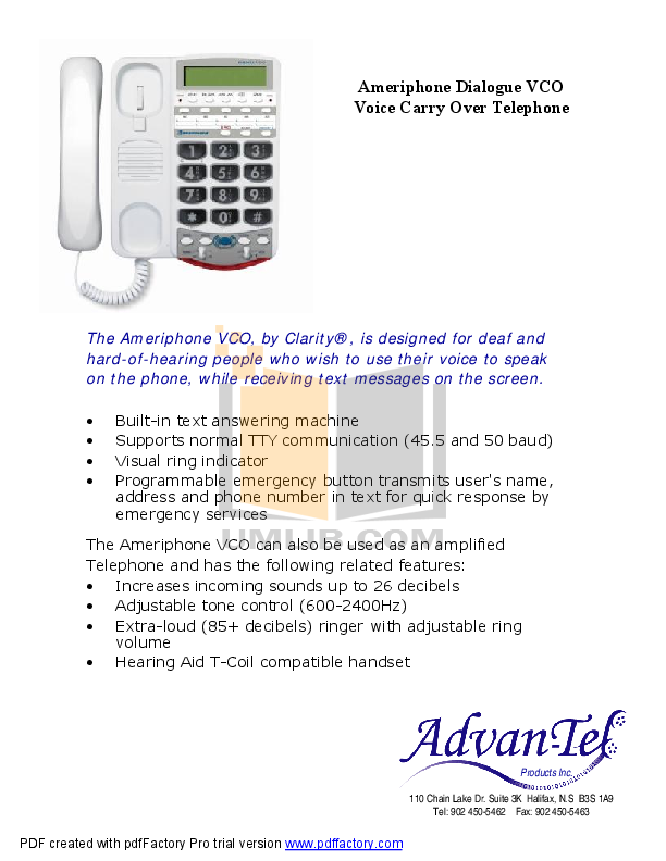 pdf for Ameriphone Telephone VCO manual