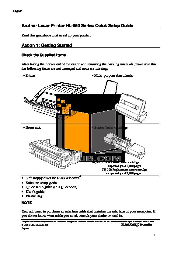 pdf for Brother Printer HL-660 manual