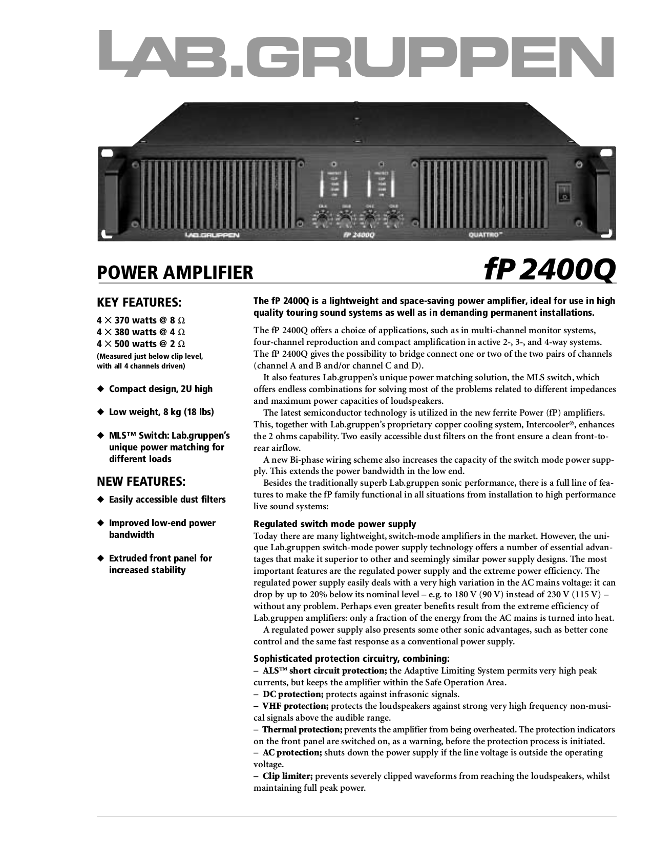 pdf for Lab.gruppen Amp fP Series FP 2400Q manual