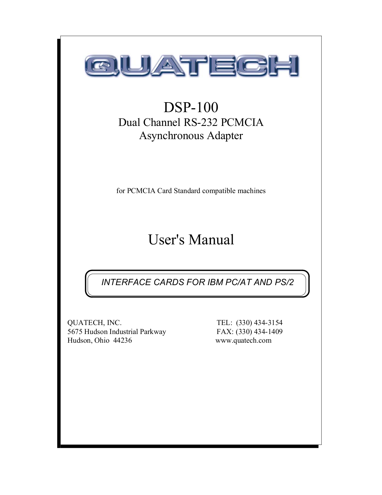 pdf for Quatech Other DSP-100 PCMCIA Cards manual