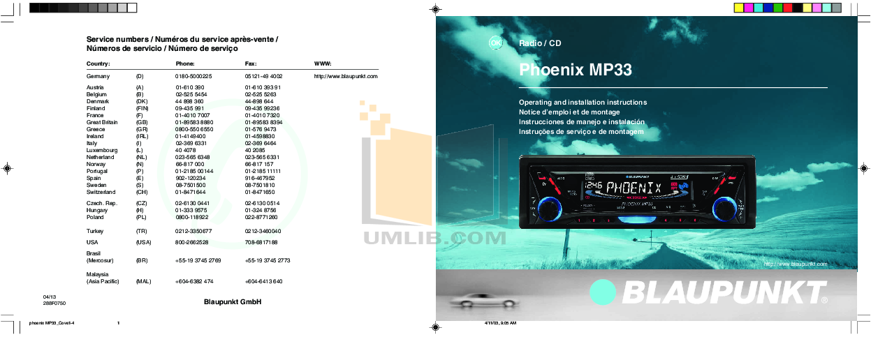 pdf for Blaupunkt Other Phoenix MP33 Car-audio manual
