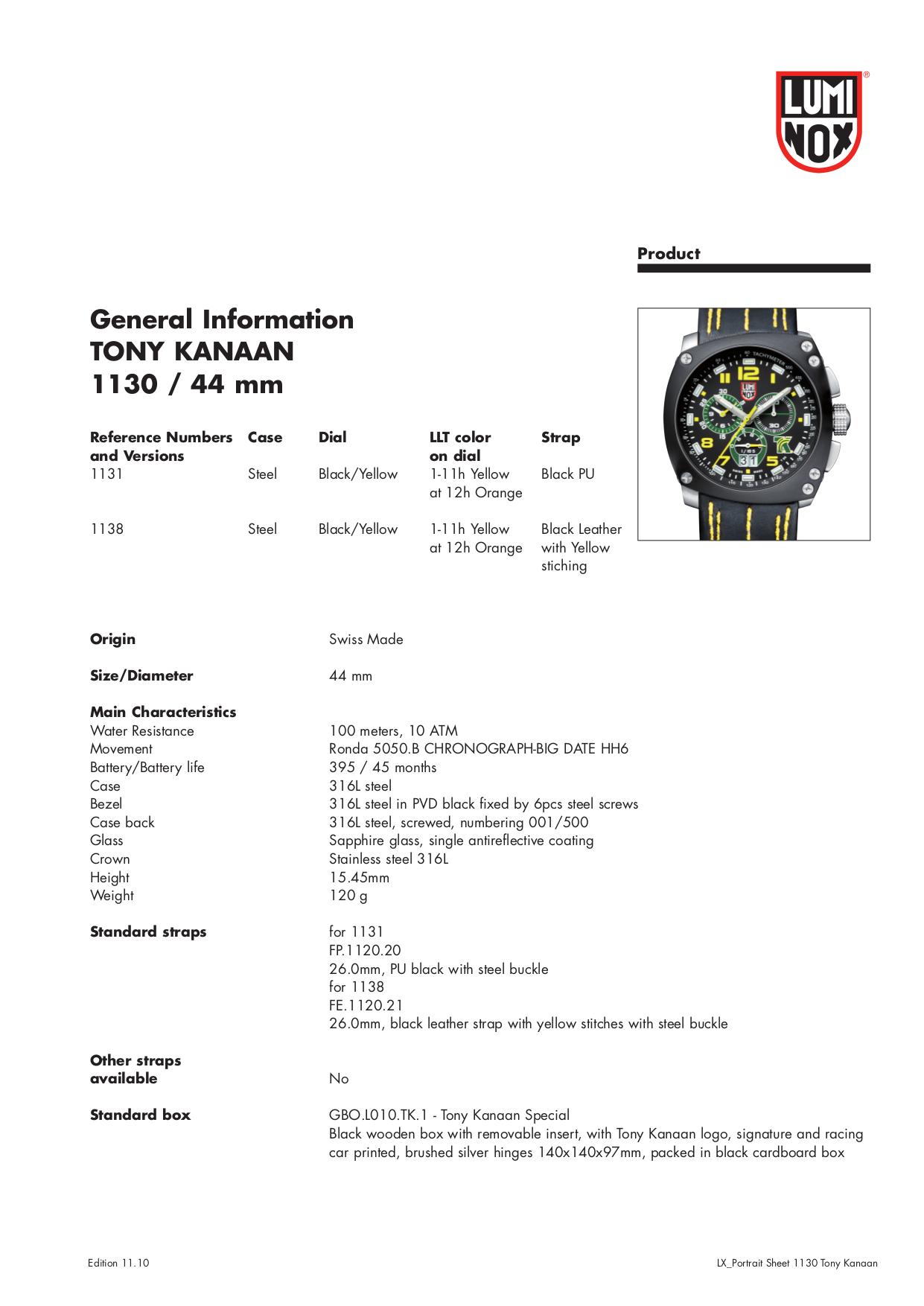 pdf for Luminox Watch 1131 manual